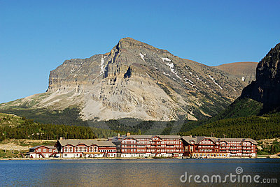Lakeside hotel and mountains