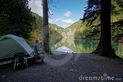 Lakeside wilderness camp