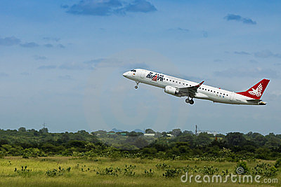 LAM Airlines, Embraer 190 Jet, Takeoff Editorial Image