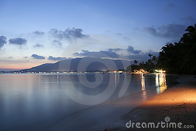 Lamai beach sunset koh samui night thailand