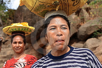 Lamalera woman carrying goods Editorial Photo