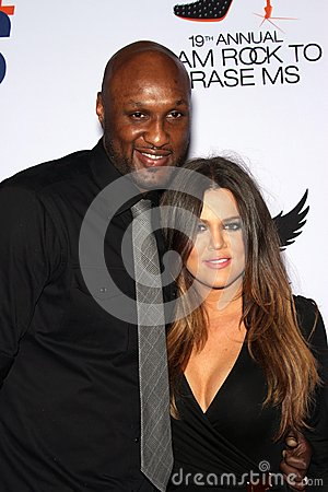 Lamar Odom and wife Khloe Kardashian at the 19th Annual Race To Erase MS, Century Plaza, Century City, CA 05-19-12 Editorial Image