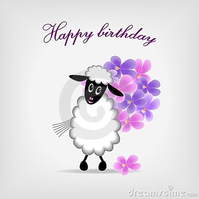 Lamb With Bunch Of Violet Flowers Stock Photography - Image: 23401542