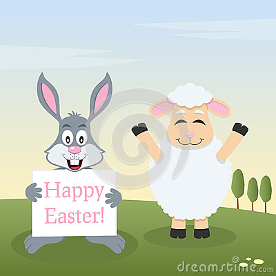 Lamb & Bunny Rabbit with Easter Banner