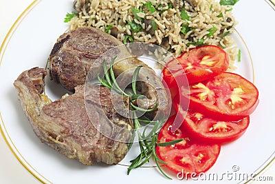 Lamb chops and rice high angle