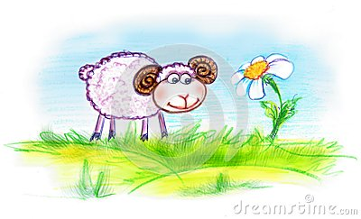 Lamb and flower