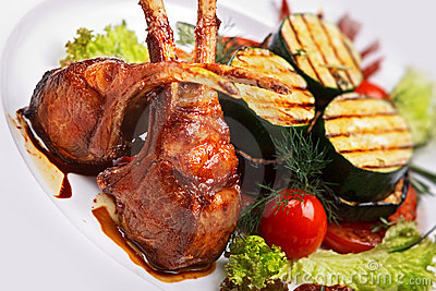 Lamb meat with garnish