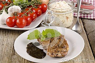 Lamb steak with coleslaw