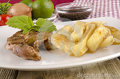 Lamb steak with french fries