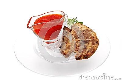 Lamb steak on ribs with thai sauce