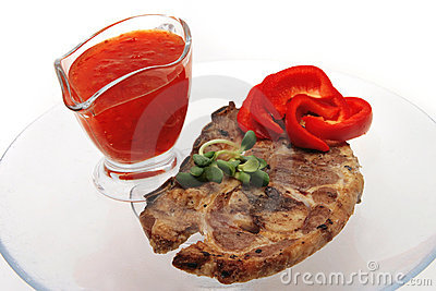 Lamb steak and sauce