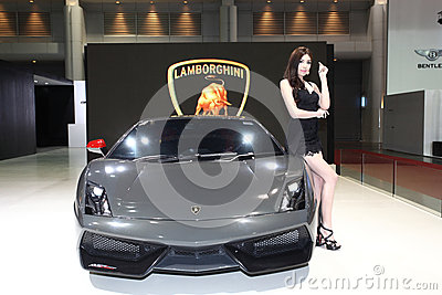 Lamborghini car with Unidentified model on display at Bangkok Editorial Image