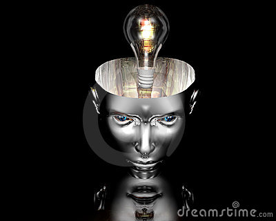 Lamp in 3D cyborg girl head on