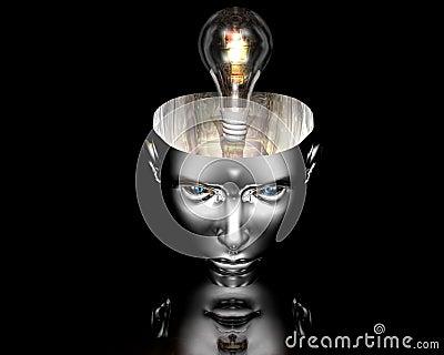 Lamp in 3D cyborg girl head on