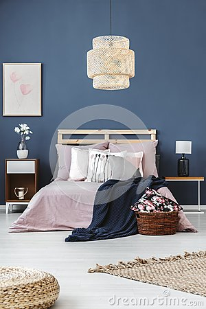 Free Lamp Above King-size Bed Stock Photos - 99522143