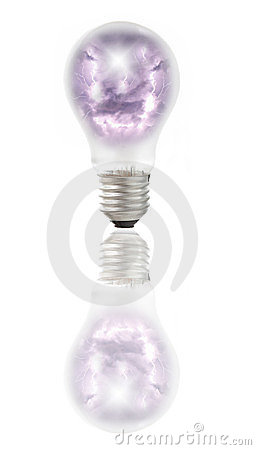Lamp bulb with thunder, lightnings and storm