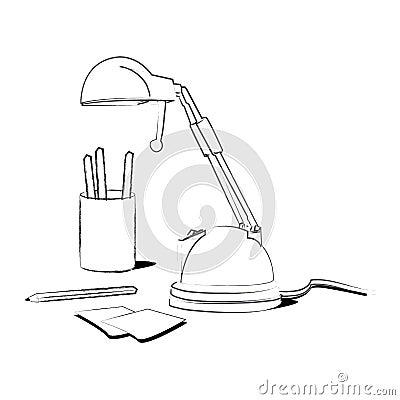 Lamp on a desk