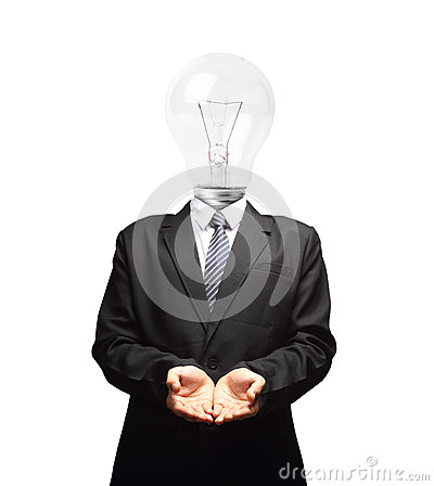 Free Lamp Head Businessman Open Palm Hand Gesture Stock Photography - 31952052