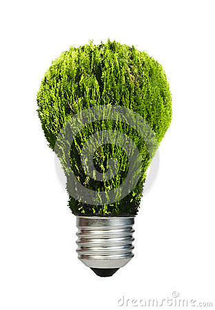 Lamp made ​​of green plants. Ecology conception