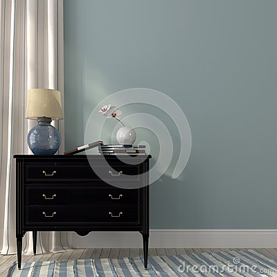 Free Lamp On The Black Dresser Stock Images - 39845424