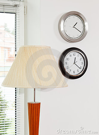 Lamp shade and wall clocks