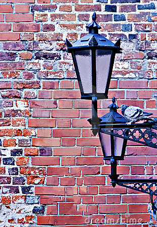 Lamp-street in the old Riga city