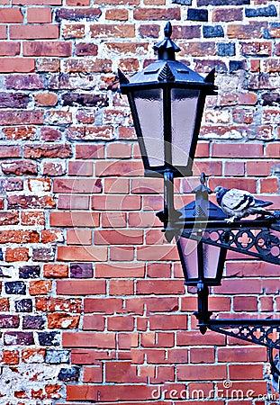 Lamp-street in the old Riga city