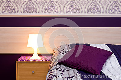 Lamp with violet theme bedroom details