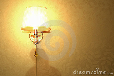 Lamp on the wall, bright light