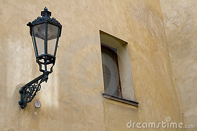 Lamp and window in prague