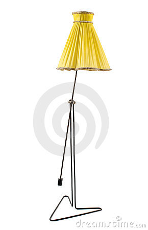 Lamp with yellow shade