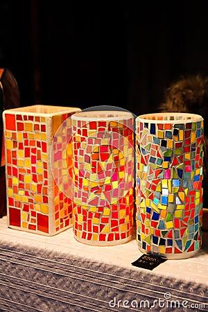 Lampade Da Tavolo Di Vetro Antiche Del Mosaico Fotografia Stock - Immagine: 4...