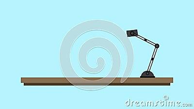 Lampe de TV et de chevet sur l'animation de l'étagère HD illustration stock