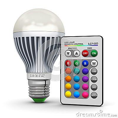 lampe multicolore de led avec t l commande sans fil illustration stock image 44364205. Black Bedroom Furniture Sets. Home Design Ideas