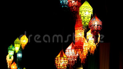 Lampen nachts in Thailand stock video footage