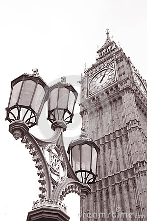 Lamppost and Big Ben at Westminster, London