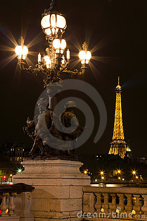 Lamppost on the bridge of Alexander III. Editorial Stock Image