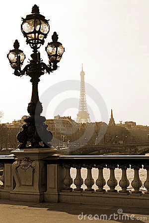 Lamppost on the bridge in Paris