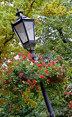 Lamppost with hanging baskets
