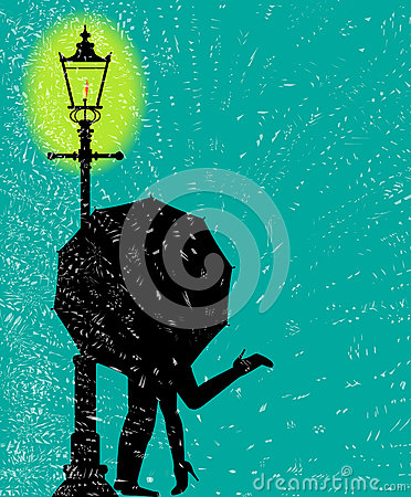 Lamppost In the Rain Vector Illustration