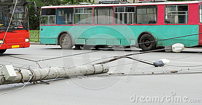 Lamppost, which fell on the road