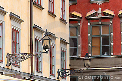 Lampposts on colorful buildings in Stocholm