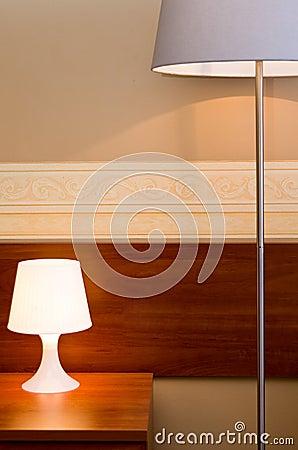 Lamps in a brown bedroom