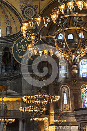 Lamps of Hagia Sophia interior Editorial Photography