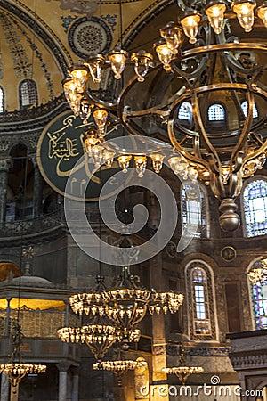 Lamps of Hagia Sophia interior Editorial Photography