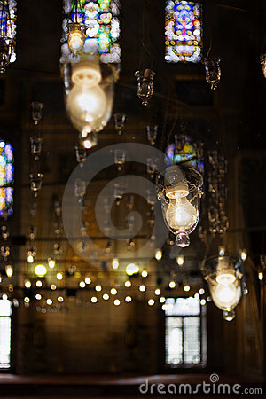 Lamps lighting mosque interior