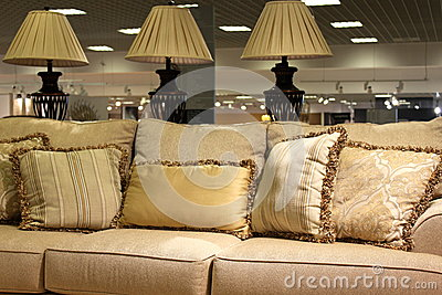 Lamps and modern sofa