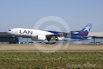 LAN boeing 777 landing Editorial Photo