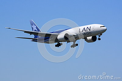 LAN Cargo Boeing 777 during landing Editorial Stock Image