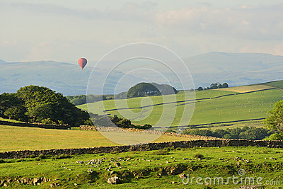 Lancashire hills, hot air balloon